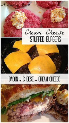 Cream Cheese Stuffed Burgers. These out of this world burgers are stuffed with cream cheese, bacon and cheddar cheese!