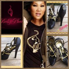 """✳️2X HP✳️ Baby Phat Designer Heels 🎉🎉2X HP """"BEST IN SHOES"""" 47/16 & STYLES STAPLES""""  4/8 🎉🎉 Super gorgeous chocolate brown, trimmed on top & insole in gold has rhinestone BP logo perch on top & adjustable ankle strap only been worn once so cute👠👠👠 size 7B 4-5"""" heel Baby Phat Shoes Platforms"""