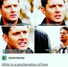 I know right, why don't we talk about this scene more like destiel is literally canon. Dean and cas just needs to kiss each other that's all Supernatural Destiel, Dean And Castiel, Crowley, Roman, John Winchester, Winchester Brothers, Low Self Esteem, Super Natural, Funny Relationship