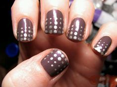 Get this STUNNING effective ATTENTION capturing look in just a few easy steps!  1)Paint your nails a dark colour e.g. black, burgundy, Dark blue.  2)Leave to dry for around 5 minutes  3)Using a silver vivid or nail pen apply the dots using different amounts of force for different sized spots!