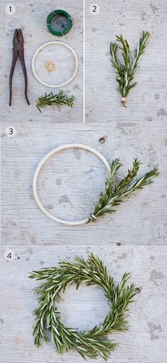 Make miniature rosemary wreaths. Make miniature rosemary wreaths. Noel Christmas, Winter Christmas, All Things Christmas, Christmas Wreaths, Xmas, Simple Christmas, Napkin Rings Diy Christmas, Rosemary Christmas Tree, Natural Christmas Tree