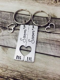Gifts For Sisters Big Sis Little Matching By MommysMetalz Birthday Ideas Sister Diy