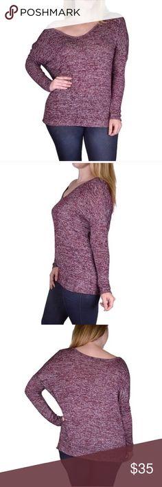 NEW PLUS Pinkish/Purple marled sweater BRAND NEW Plus Size Pinkish/Purple marled sweater. Light weight sweater. 49% Rayon 48% Polyester 3% Spandex.💜 Sweaters Crew & Scoop Necks