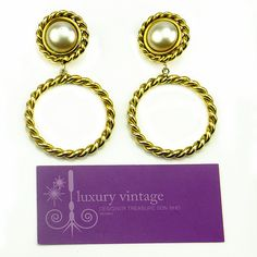 Moschino Vintage Earring Gold Plated With Faux Pearl Good Condition Ref.code-(KYYE-14)