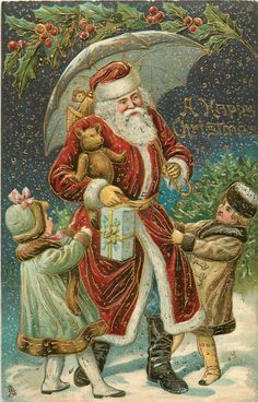 A HAPPY CHRISTMAS  Santa carrying teddy under umbrella, pulled by two girls