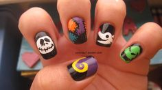 Today's Daily Nail Art is this Halloween design by victoriac7 that was inpired by the movie, 'The Nightmare Before Christmas.'