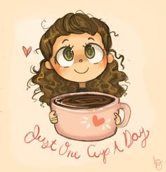 Another one for the Coffee Chibi Series! Yeah I am TOTALLY trying to cut down on coffee. Just One Cup Coffee Barista, Coffee Art, Coffee Humor, Coffee Doodle, Funny Coffee, I Love Coffee, My Coffee, Morning Coffee, Coffee Time Quotes