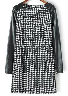 Black Contrast PU Leather Houndstooth Bodycon Dress 22.83