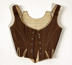 "Metropolitan Museum of Art Corset 1780s-90s European cotton, wood length at CB 10"" Accession Number: 1983.242.2"