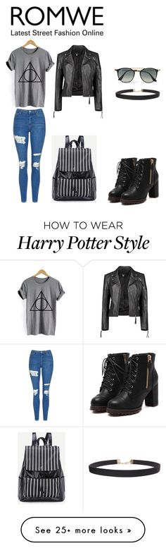 """""""Harry Potter shirt"""" by medik02 on Polyvore featuring Topshop, Boohoo, Ray-Ban, Humble Chic, harrypotter, Leather, Boots, grey and shirt"""