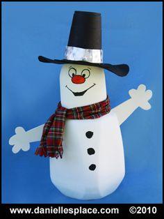 Snowman Milk Jug Craft for Kids from www.daniellesplace.com
