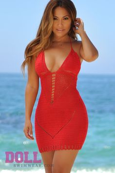 Malibu Cocktail Red Sexy Cut Out Crochet Beach Dress