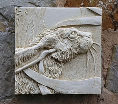 Garden Wall Plaques : Animal Wall Plaques : Hare Wall Tile (Right) Garden Wall Plaque