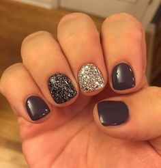 Grey gel glitter accent nail art, nails summer acrylic