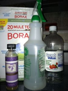 Liquid Magic Eraser    •2 Tbs Borax  •12 oz. Warm to Hot water  •12 o.z White Vinegar  •Your Favorit Essential Oil