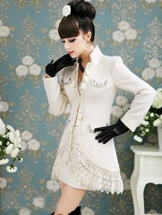 Morpheus Boutique  - White Hair Collar Crystal Long Sleeve Wool Lace Trendy Coat
