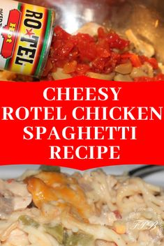 "This Cheesy Chicken Spaghetti with Rotel Recipe is the best comfort food ever! Just what your family wants for dinner tonight! You will want to add this recipe to your ""cook all the tie list! Rotel Chicken Spaghetti, Taco Spaghetti, Chicken Pasta, Chicken Salad, Chicken Recipes, Recipe For Rotel Chicken, Recipes With Rotel, Chicken Meals, Pasta Recipes"