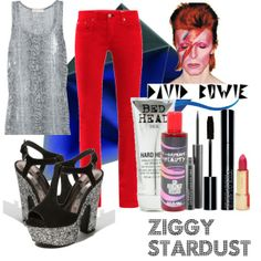 A fashion look from October 2011 featuring MICHAEL Michael Kors tops, rag & bone pants and ALDO sandals. Browse and shop related looks. Halloween Cosplay, Halloween Costumes, David Bowie Costume, Rock Costume, David Bowie Fashion, Halloween Carnival, Halloween 2018, Halloween Ideas, Dress Up Day