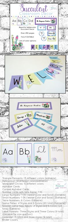 Watercolor Succulent Cactus Classroom Decor Theme | Fully Editable This set comes with so many different colors and styles for you to customize your classroom ( over 250 pages! ). Created to allow you to mix and match your favorite colors and textures to make a soothing classroom theme. All templates come in an editable format to make your own names tags, locker tags, labels, signs, class posters, banners and more! Mix water color and solid colors together to make a classroom uniquely you.