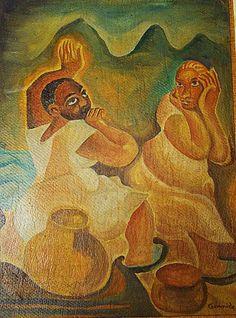 """Antonio Gomide- Titulo """"Cultura Baiana"""", óleo sobre Cartão, dimensão 34 Cm x 26 Cm, assinado no canto inferior direito, obra emoldurada e certificada pela curadora do artista """" Elvira Vernasch""""."""