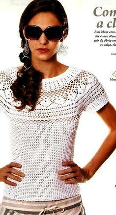 White top free crochet graph pattern