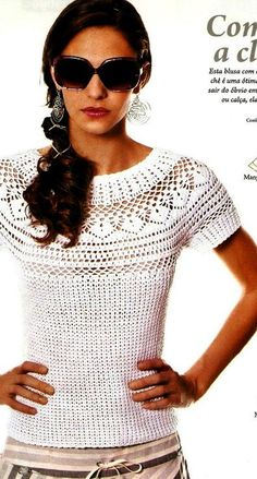 White top free crochet graph pattern