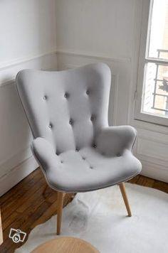 Fauteuil design retro 50 scandinave fleux gris Ameublement Paris - leboncoin.fr