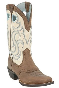 Ariat Ladies Earth Rawhide w/ Cream Top Punchy Square Toe Western Boot     I will have these!!!