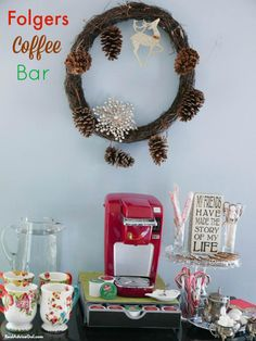 Welcome guests into your home by serving delicious coffee and treats. Read these tips on how to set up a Folgers Coffee Bar. #AD