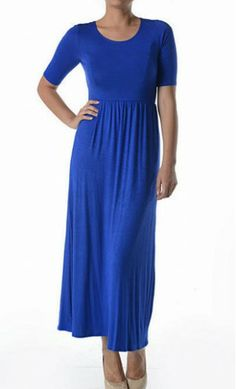 Half sleeve solid color maxi dress with fitted waist. - Apostolic Clothing