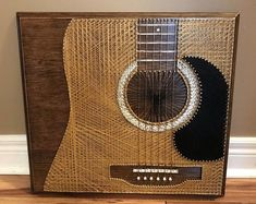 String Art Acoustic Guitar //MADE TO ORDER// Source by glowplanet Our Reader Score[Total: 0 Average: Related photos:ammoon Portable Acoustic Guitar Amplifier… Best Acoustic Guitar, Acoustic Guitar Strings, Guitar Diy, Acoustic Guitars, Guitar Vector, Nail String, String Art Patterns, Geek Stuff, Crafty