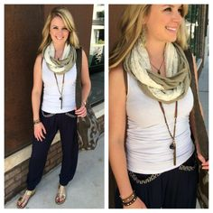 **NEW** #comfy navy harem pant! Perfect with a simple tank & unity scarf! #harempant #boho #bohostyle #sothreadstyle #atx — at Southern Thread @ The Domain.