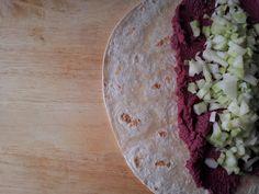 Beetroot Hummus on flatbread