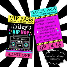 Hip Hop Dance Party Bright0 VIP lanyard by CupcakeCutieesParty