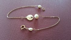 Gold-Fill Sand Dollar and Pearl Bracelet by weddingbellsdesigns