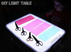 Easy DIY Light Table. This is how it looks with the house lights off.
