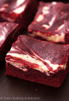 Decadent (and easy!) red velvet brownies swirled with cheesecake. I love these!