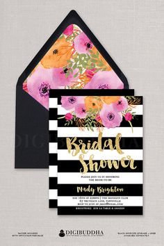 "Black & White Bridal Shower Invitation with boho chic watercolor flowers, gold glitter and Kate Spade inspired black and white stripes. ""Mady"" style, available at digibuddha.com"