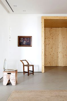 Small chairs and wood hallway