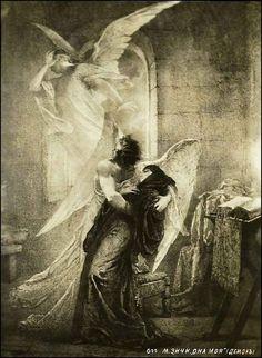 """«"""" Demon """"de Mikhail Lermontov. M. Zichy. Ángel, demonio y Tamara. """"Ella es mía! '"""""""