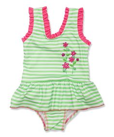 Love this Green Stripe Floral Skirted One-Piece - Toddler & Girls by Penelope Mack on #zulily! #zulilyfinds