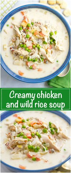Healthy creamy chicken and wild rice soup is filled with veggies and deliciously creamy while still being very light. And it's ready in just 30 minutes!   www.familyfoodonthetable.com