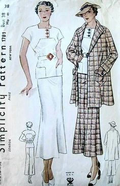 1930s ART DECO 2 PC SLIM DRESS SWAGGER COAT JACKET PATTERN NRA SIMPLICITY 1781
