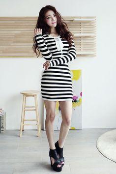 kpopsicle.com #fashion #style #kpop #Jun Ji-hyun Eyelet striped dress
