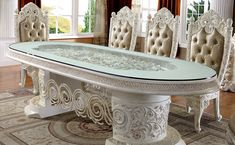 Italian Empire, Luxury Home Furniture, Luxury Dining Room, Empire Style, Prince And Princess, New Set, Vanity Bench, Luxury Homes, Carving