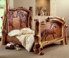 carved bed by Amber Jean