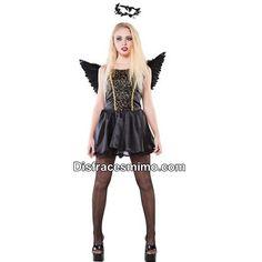DisfracesMimo, disfraz de hada negra mujer adulto.Con este disfraz te conbertiras un hada fantastica, es ideal para tus fiestas temáticas o noches de Halloween.