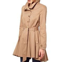 Khaki Asymmetric Lapel Collar Belted Coat, Trench Coat,Solid Color