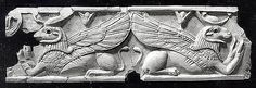 Plaque with reclining ram-headed sphinxes  Date: ca. 9th–8th century B.C. Geography: Mesopotamia, Nimrud (ancient Kalhu) Culture: Assyrian Medium: Ivory The Metropolitan Museum of Art