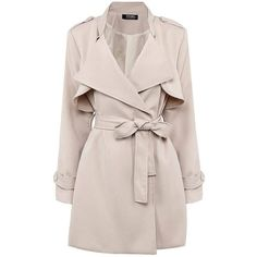 Yoins Yoins Nude Belted Trench Coat ($46) ❤ liked on Polyvore featuring outerwear, coats, jackets, casaco, coats & jackets, khaki, belted trench coat, khaki coat, slim coat and trench coat